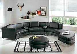 amazon com contemporary furniture black leather curved sectional