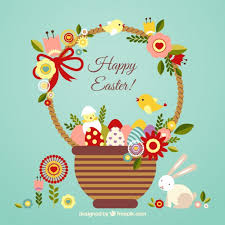 free easter cards easter card with a basket vector free