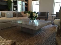 furniture rectangular concrete coffee table with white sofa and
