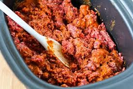 slow cooker browns in the crockpot spicy ground beef for tacos