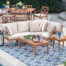 Cast Iron Patio Furniture Sets - belham living brighton outdoor wood conversation sectional set