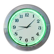 neon green chrome wall clock home and office clocks