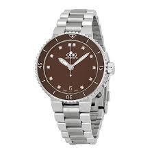 oris aquis date diamonds brown dial stainless steel ladies watch