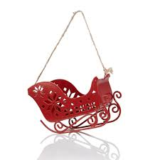 Red Santa Sleigh Tree Decoration Departments