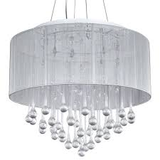 loose chandelier crystal white fabric shade crystal modern drum