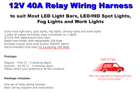relay harness wiring kit to suit hid and led driving lights and