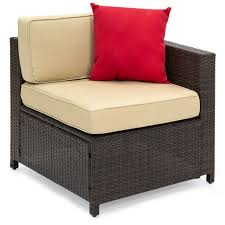 5 piece wicker patio sectional set w beige cushions and red
