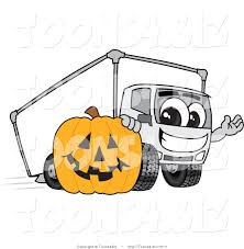 vector illustration of a cartoon delivery truck mascot with a