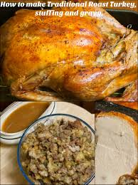 roast turkey and gravy and the kitchen