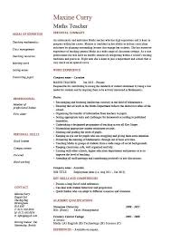 Job Skills Resume by Maths Teacher Cv Template Maths Teacher Job Mathematics Key