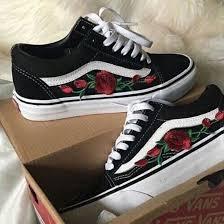 black roses shoes vans black roses wheretoget