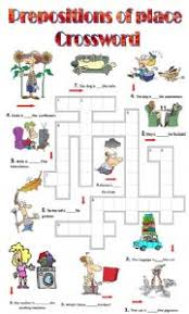 esl worksheets for beginners prepositions of place crossword