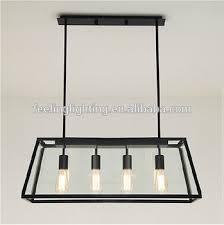 Industrial Chandelier Lighting Vintage Loft Style Iron Frame Square Glass Pendant Light 4heads