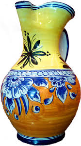 Spanish Vase Handpainted Spanish Sangria Pitcher Yellow And Terracotta With