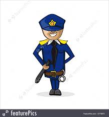 police and security profession police man cartoon figure stock
