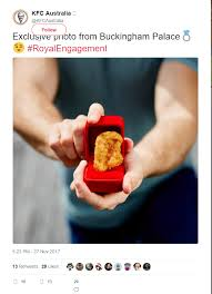 Kfc Meme - kfc australia sends tweet with a piece of chicken in a ring box to
