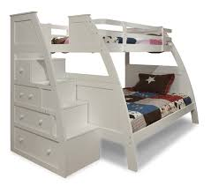 white lacquer solid wood curved bunk bed with chest of drawer