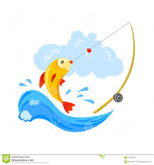 logo for fishing the fish and the fishing rod stock vector