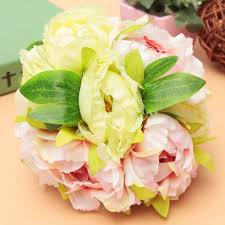 Flower Home Decoration by 10 Heads Artificial Silk Flower Peony Wedding Bouquet Party Home