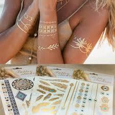 aliexpress com buy 5pcs set temporary tattoo metallic gold flash