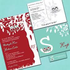 custom owl wedding invitations red and aqua blue sample