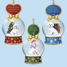 bichon frise snow globe ornaments the danbury mint