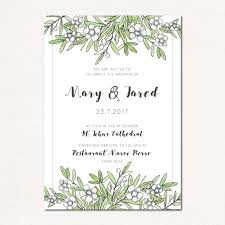 wedding invitation with leaves and flowers vector free download