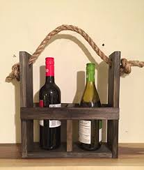 amazon com rustic wood wine carrier wine tote wine bottle
