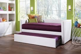 bedroom rectangle white leather full daybed with storage and