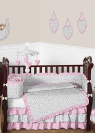 Cheetah Print Pink Gray U0026 White Crib Bedding By Sweet Jojo