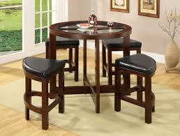 Glass Circular Dining Table Cove Walnut Wood 5 Pieces Glass Top