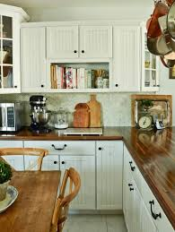 kitchen butcher block countertop with beadboard kitchen cabinet