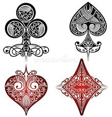 a set of ornate playing card tattoo set stock vector image