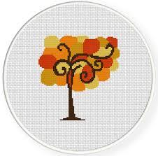 autumn tree cross stitch pattern daily cross stitch