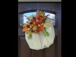 White Deco Mesh Deco Geo Mesh Fall Pumpkin Wreath Tutorial Youtube