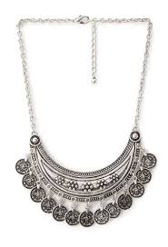 silver boho necklace images Lyst forever 21 boho coin necklace in metallic jpeg