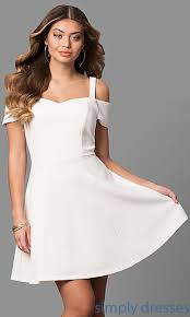 white party dresses ivory graduation party dress with cold shoulder