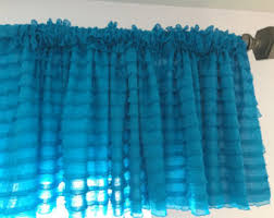 Turquoise Ruffle Curtains Pink Ruffle Tulle Valance Short Curtain Extra Wide Valance