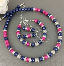 navy jewelry hot pink and navy jewelry set navy and by daisybeadzjoaillerie