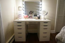 rectangle white wooden makeup table with rectangle silver mirror