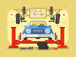 yellow jeep clipart suspension car design flat auto repair service station