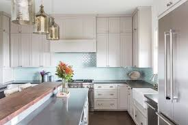 light blue kitchen backsplash light gray kitchen cabinets with aqua mini glass tile backsplash