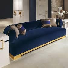 Modern Blue Sofa High End Modern Italian Designer Blue Velvet Sofa Items
