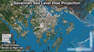 United States Storm Map by Savannah Sea Level Rise Projection Climate Central