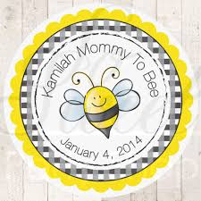 24 baby shower favor sticker labels mommy to bee theme bumble
