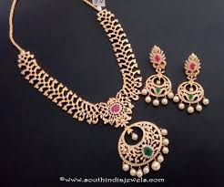 gold stone necklace sets images One gram gold stone necklace set with earrings south india jewels jpg
