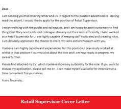 collection of solutions cover letter retail supervisor with