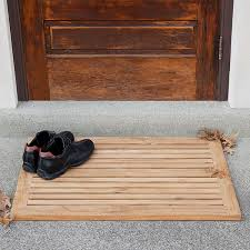 Half Moon Doormat Rectangular Slatted Teak Mat Outdoor