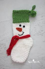 crochet snowman christmas stocking repeat crafter me