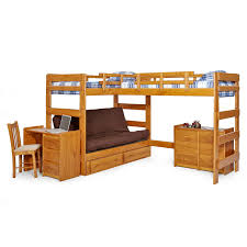 Woodcrest Heartland Futon Bunk Bed With Extra Loft Honey Pine - Futon bunk bed frame